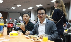 Students enjoying the food