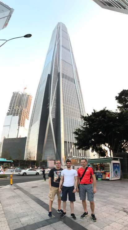 "The ""Shenzhen Rangers"" team at the Ping An Financial Tower"