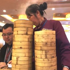 Towers of bamboo steamers